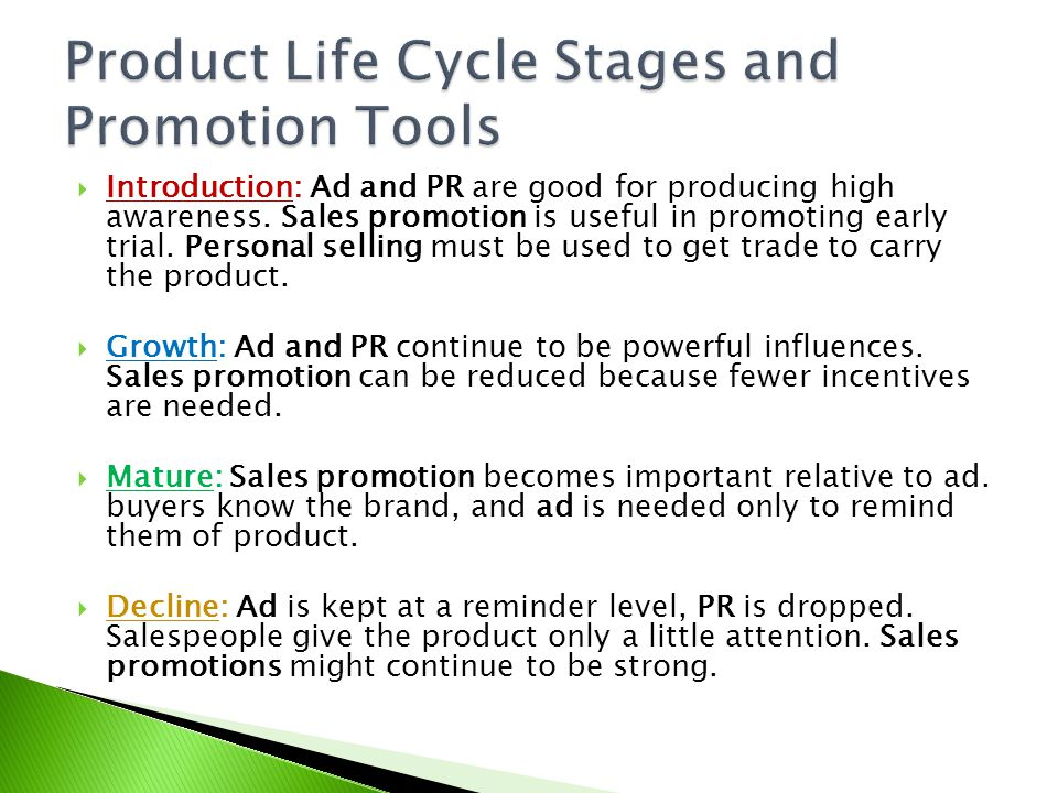 Product Life Cycle Stages and Promotion Tools