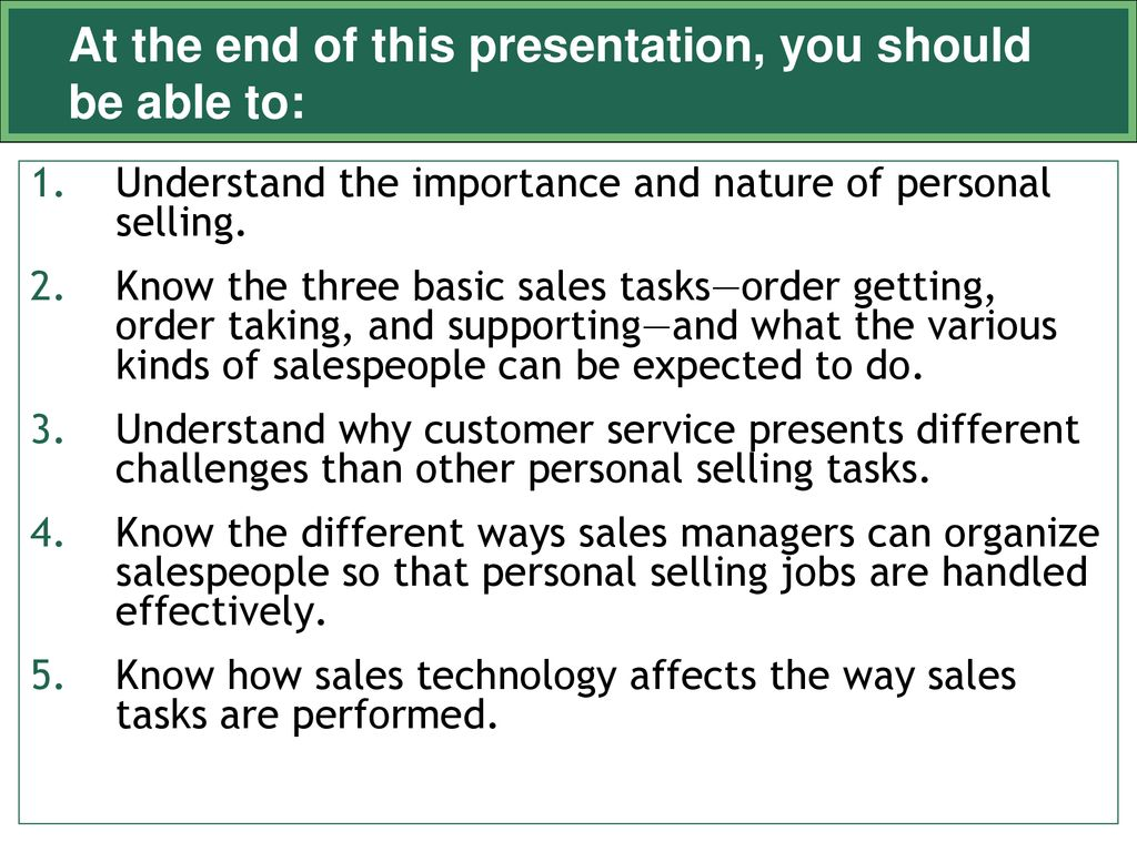 three types of personal selling