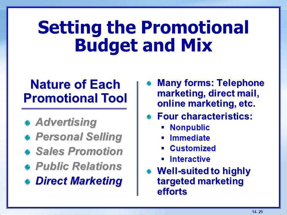 Promotion mix strategies