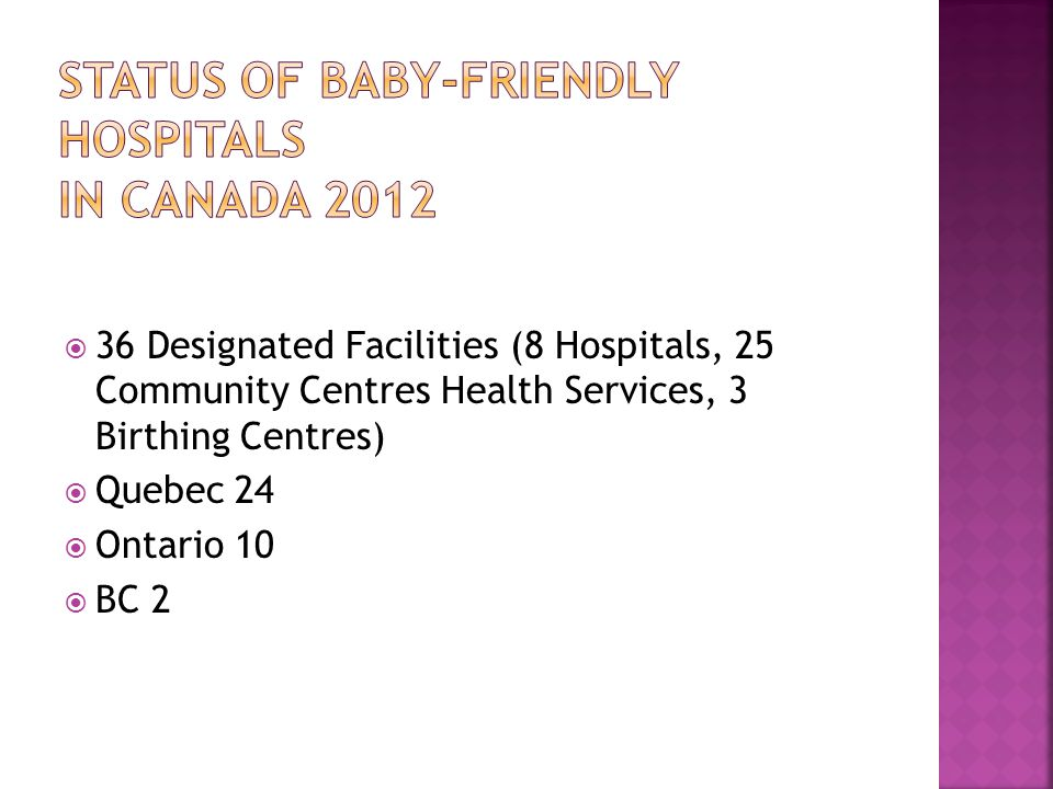 Status of Baby-Friendly Hospitals In Canada 2012