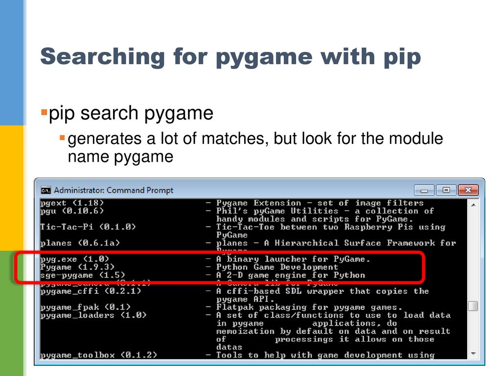 8  Starting Pygame Let's Learn Python and Pygame - ppt download