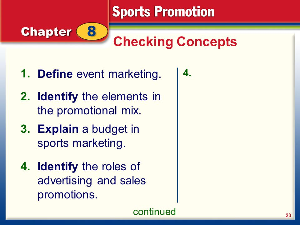 Checking Concepts Define event marketing
