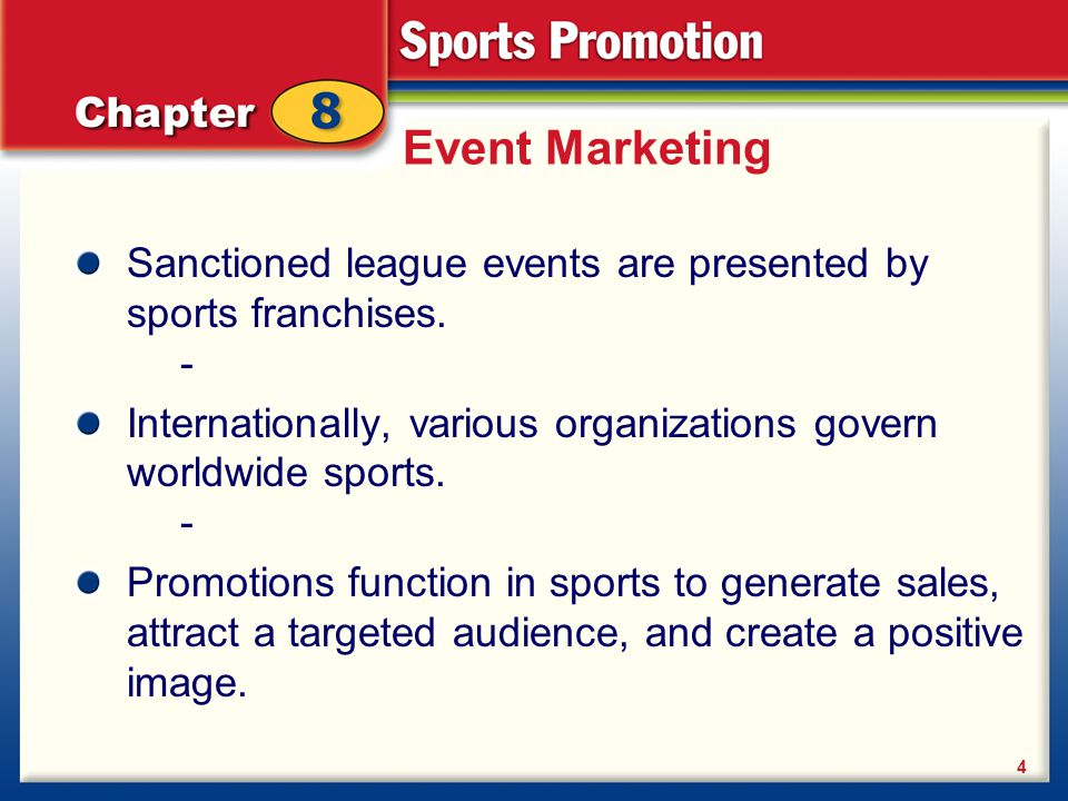 Event Marketing Sanctioned league events are presented by sports franchises. - Internationally, various organizations govern worldwide sports. -
