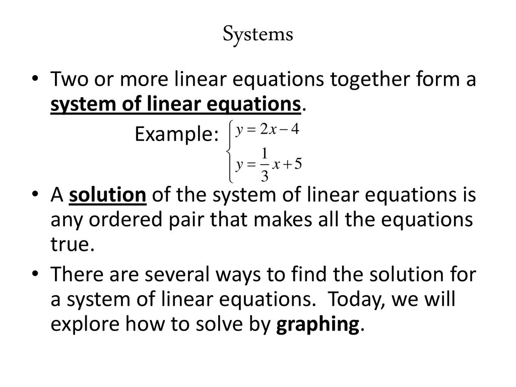 introduction to systems of equations (and solving by graphing) - ppt