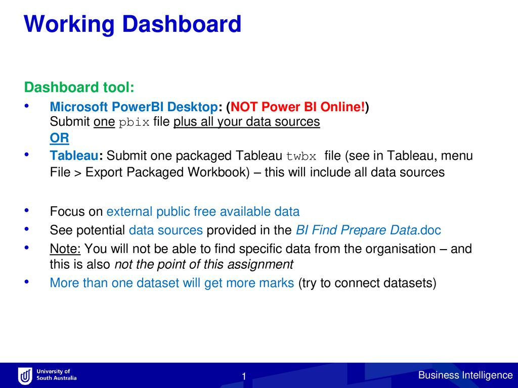 Working Dashboard Dashboard tool: - ppt download