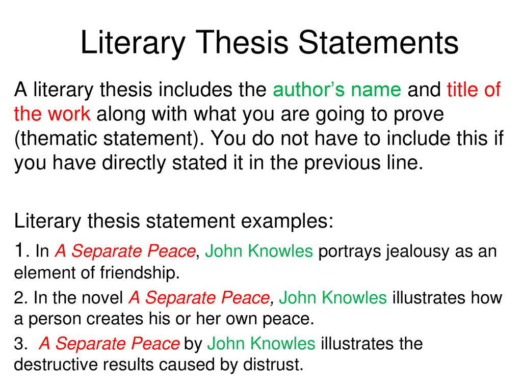 thesis statements a separate peace