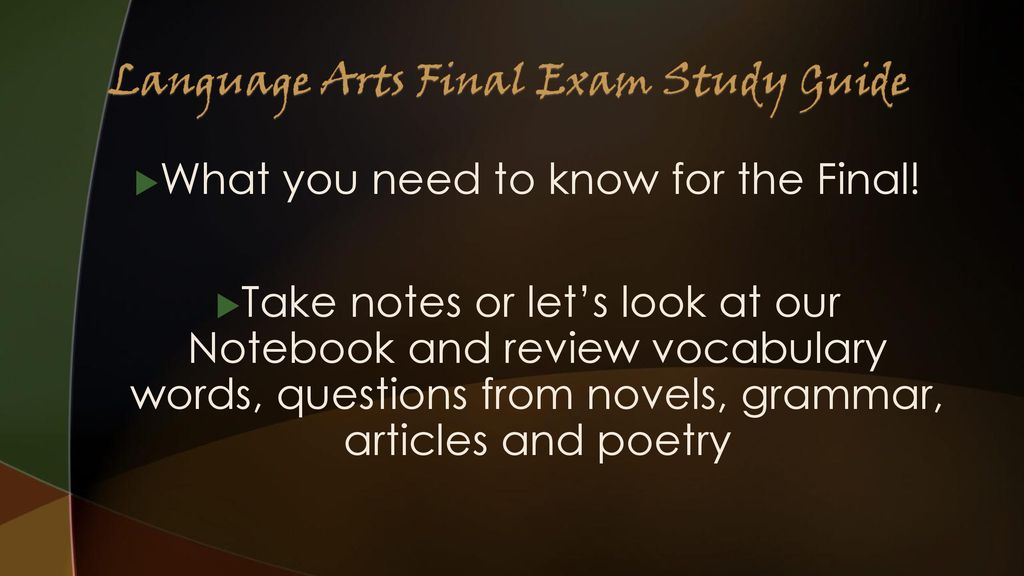 6th Grade Language Arts Final Exam Study Guide Ppt Download