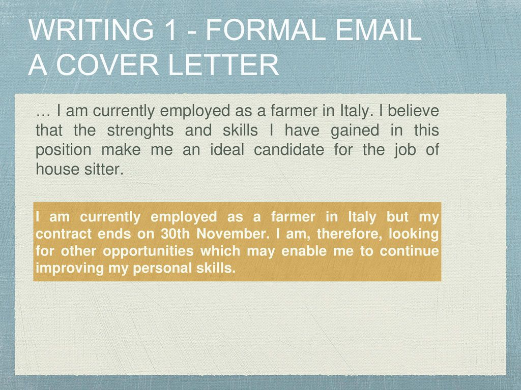 WRITING A COVER LETTER FORMAL November Ppt Download