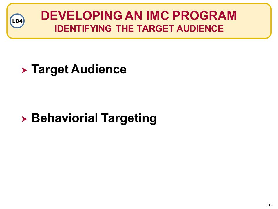 DEVELOPING AN IMC PROGRAM IDENTIFYING THE TARGET AUDIENCE
