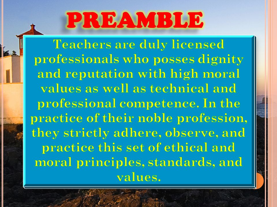 code of ethics for professional teacher Code of ethics preamble the national education association believes that the education profession consists of one education workforce serving the needs of all students and that the term 'educator' includes education support professionals.
