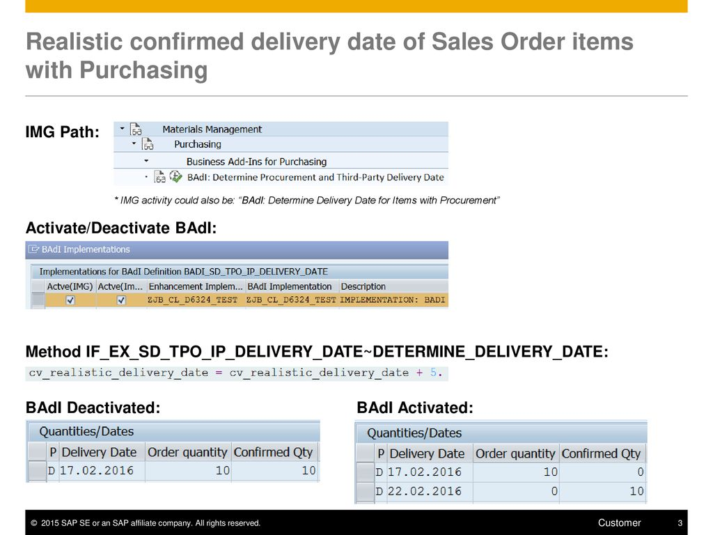 Realistic confirmed delivery date of Sales Order items with