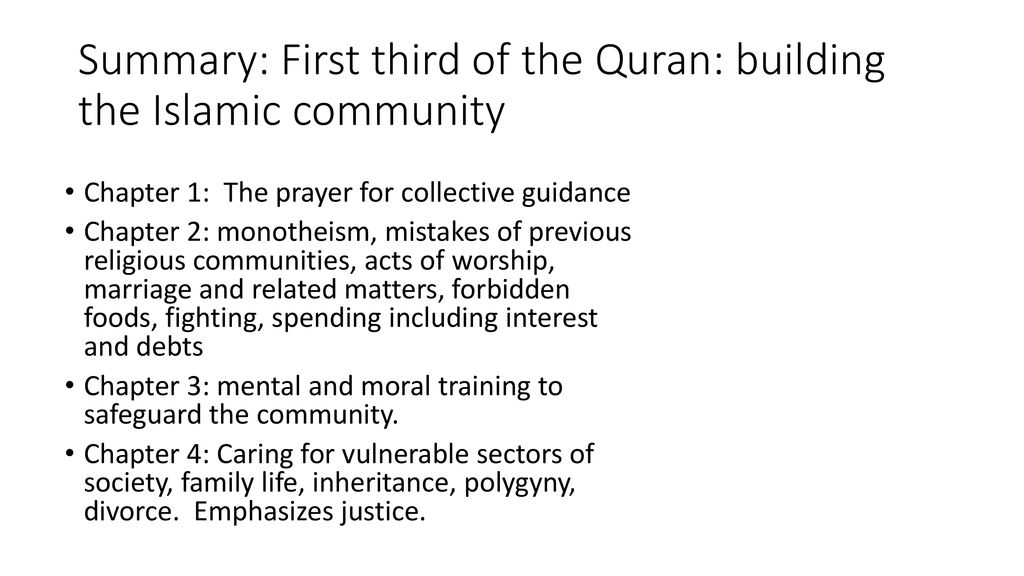 The Structure and Contents of the Quran: An Overview - ppt