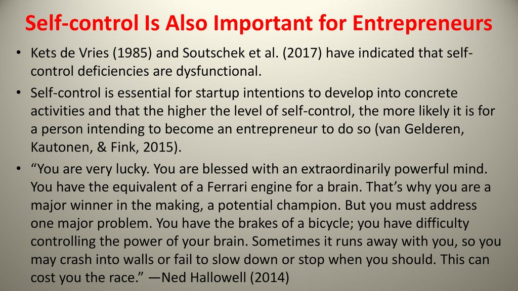 Self-control and Entrepreneurs - ppt download