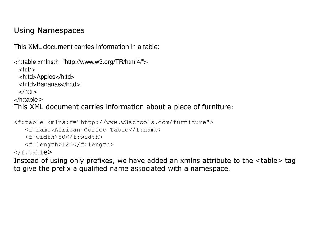 Using Namespaces This XML Document Carries Information In A Table