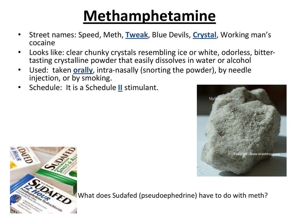 Methamphetamine Street names: Speed, Meth, Tweak, Blue