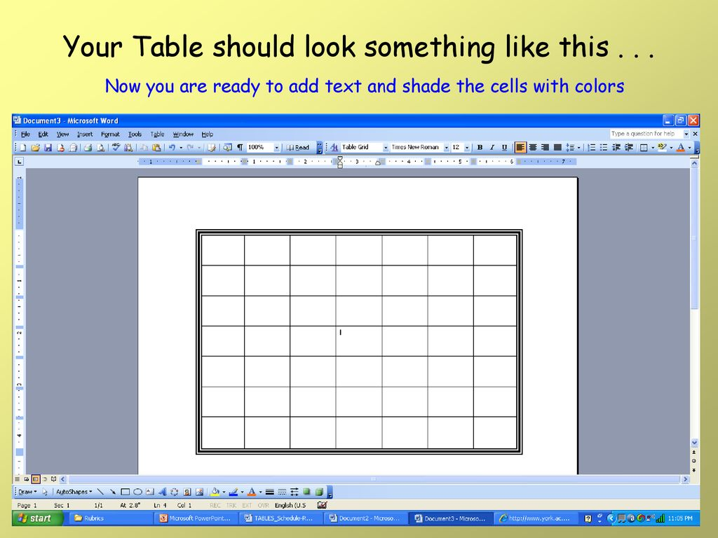 HOW TO INSERT A TABLE Using Microsoft Excel  - ppt download