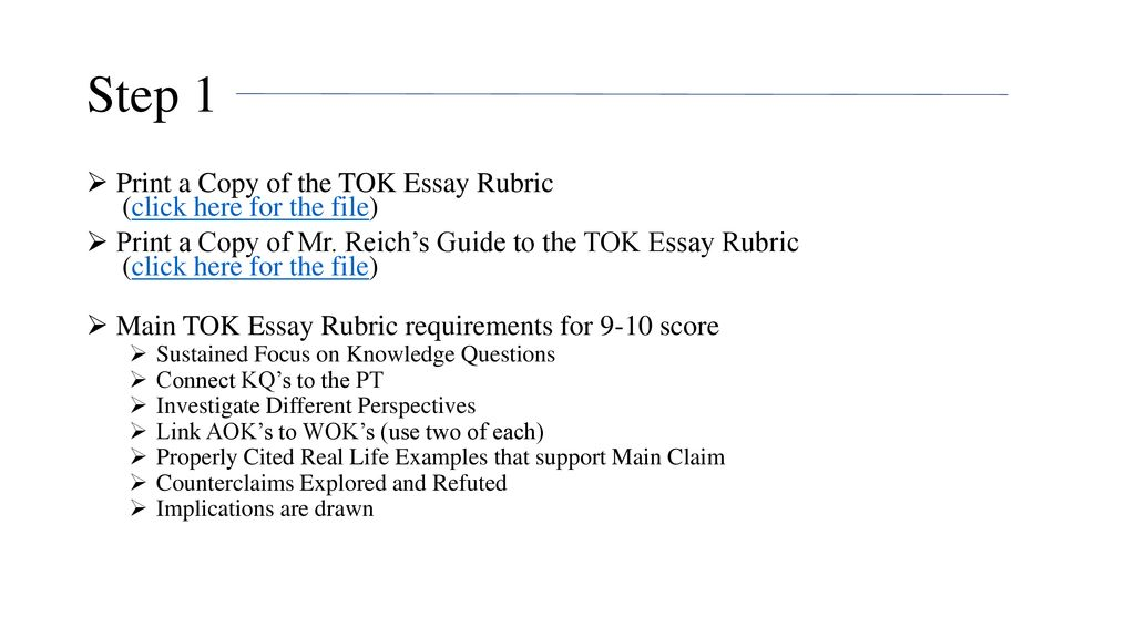 How To Write A Tok Essay By Mr Reich  Ppt Download Step  Print A Copy Of The Tok Essay Rubric Click Here For The File Writing Service Agreement Contracts also Best English Essays  Finance Assignment Helper