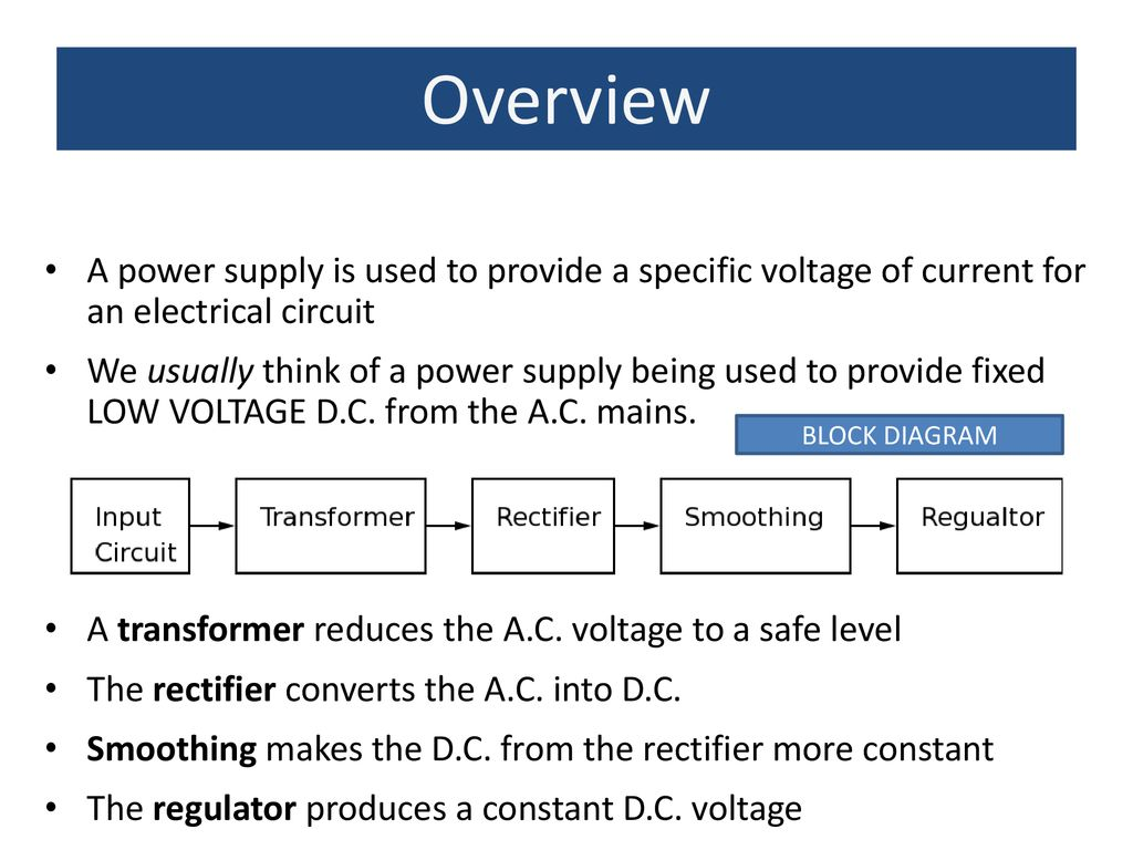 Power Supplies Aim To Understand The Simple Supply In Terms Transformer Block Diagram 2 Overview