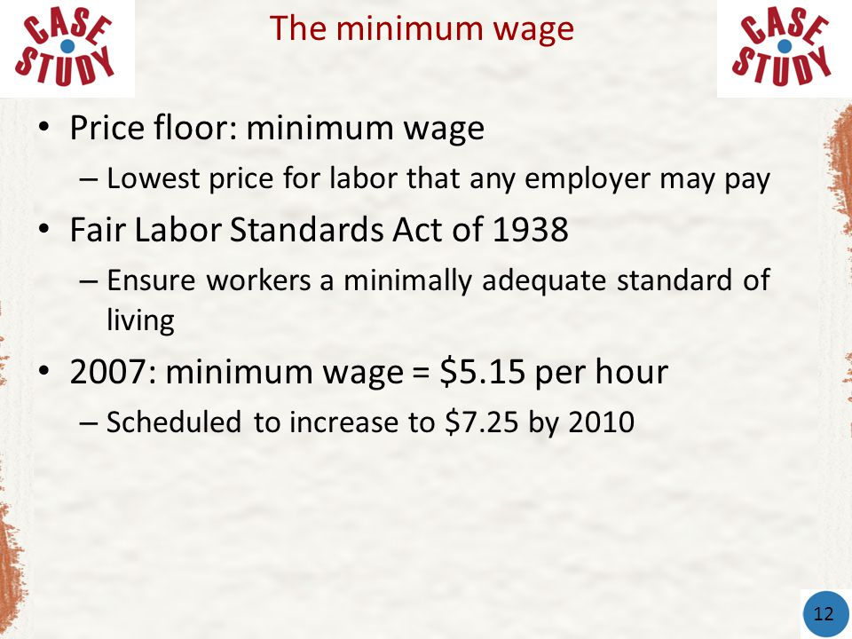 Price floor: minimum wage Fair Labor Standards Act of 1938