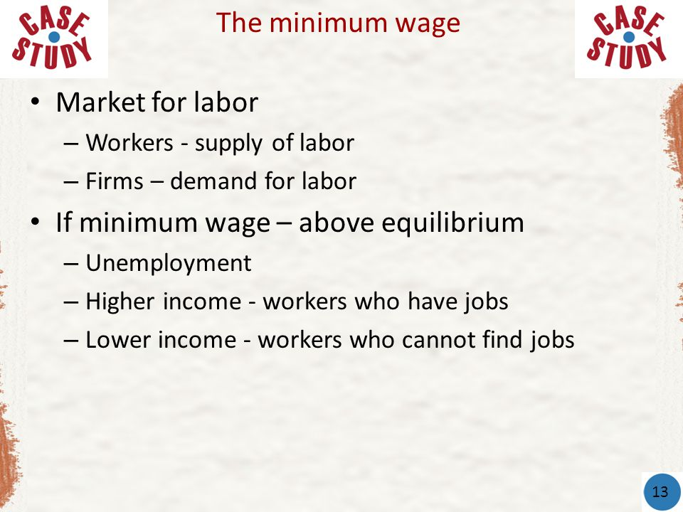 If minimum wage – above equilibrium