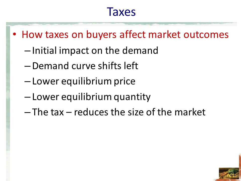 Taxes How taxes on buyers affect market outcomes