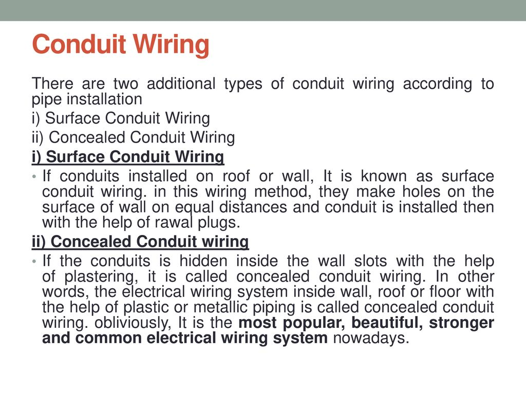 Govt Poly Dhangar Fatehabad Ppt Download Types Of Domestic Wiring Methods Conduit There Are Two Additional According To Pipe Installation I