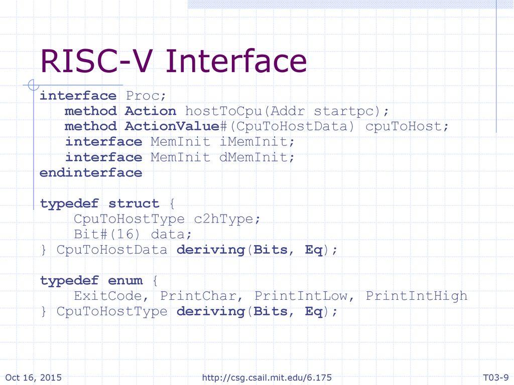 Constructive Computer Architecture Tutorial 3 RISC-V