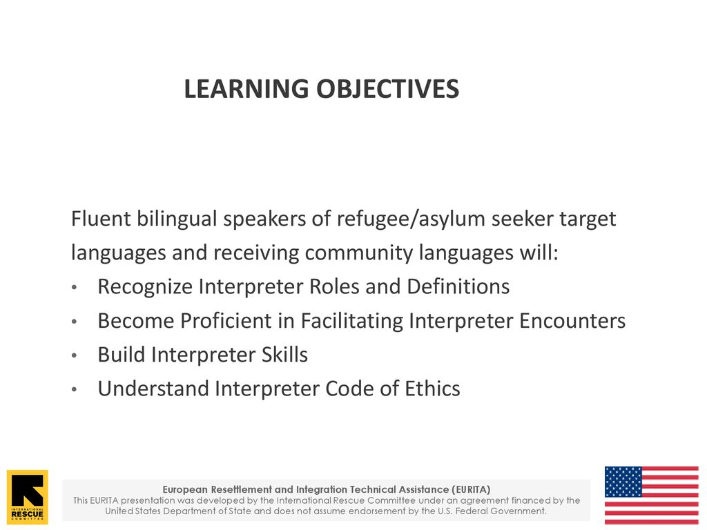 training objectives to develop the skills of speakers of refugee