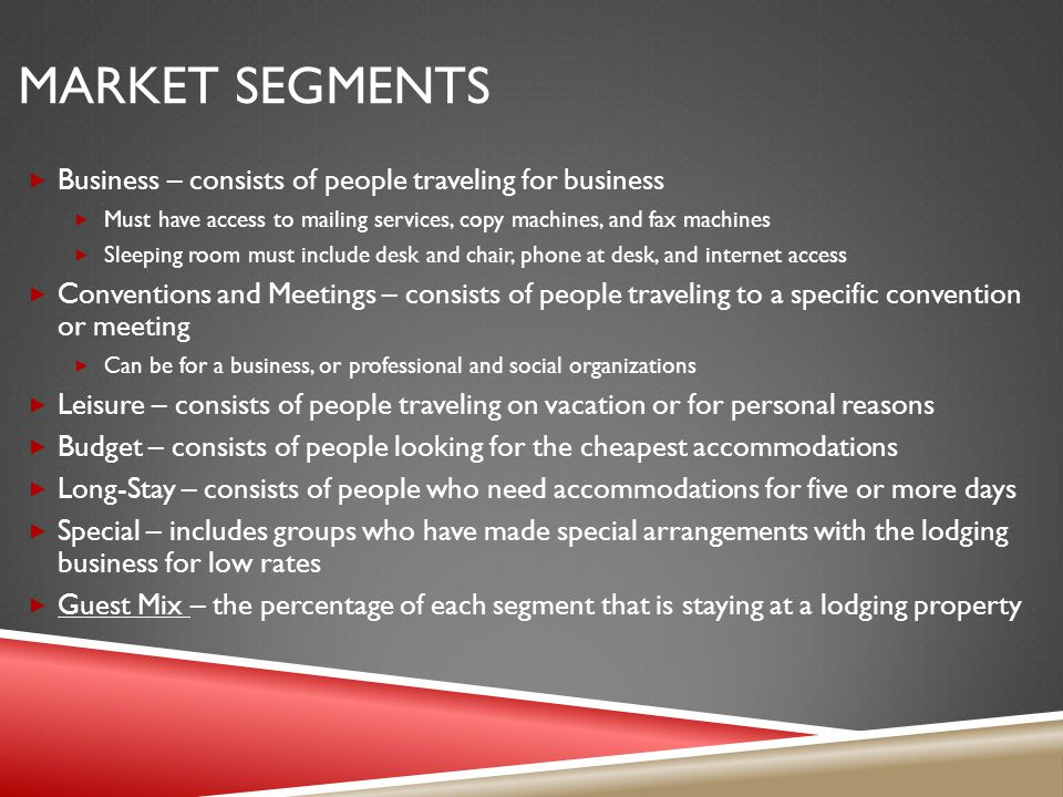 Market Segments Business – consists of people traveling for business
