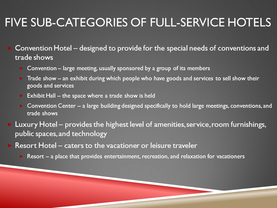 Five sub-categories of full-service hotels