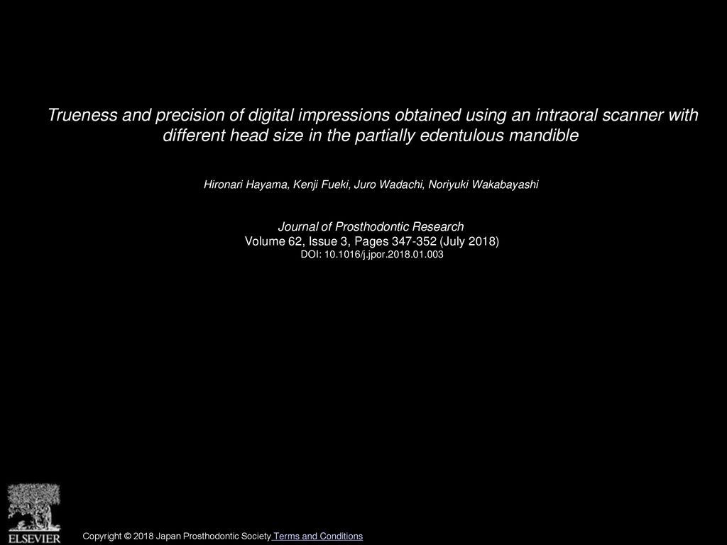 Trueness and precision of digital impressions obtained using