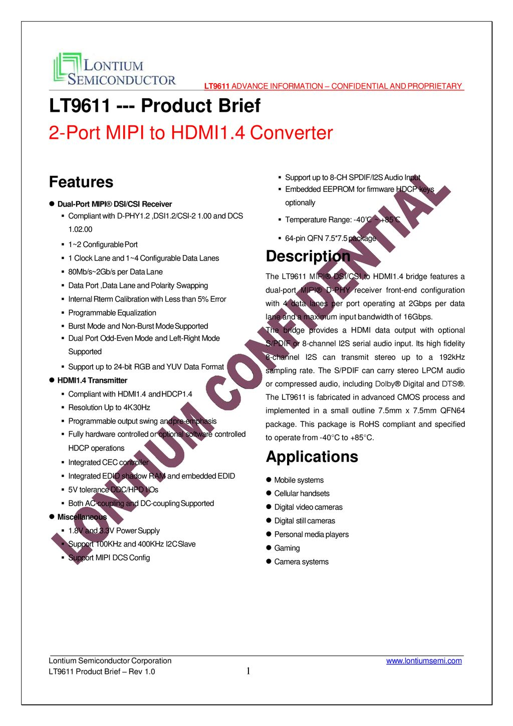 LT Product Brief 2-Port MIPI to HDMI1 4 Converter - ppt download