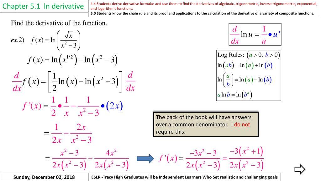 Warm Up Chapter 5 1 ln derivative Sunday, December 02, ppt