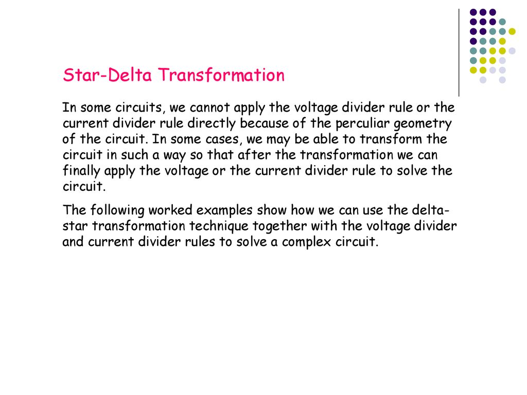 Star-Delta and Delta-Star Transformations - ppt download