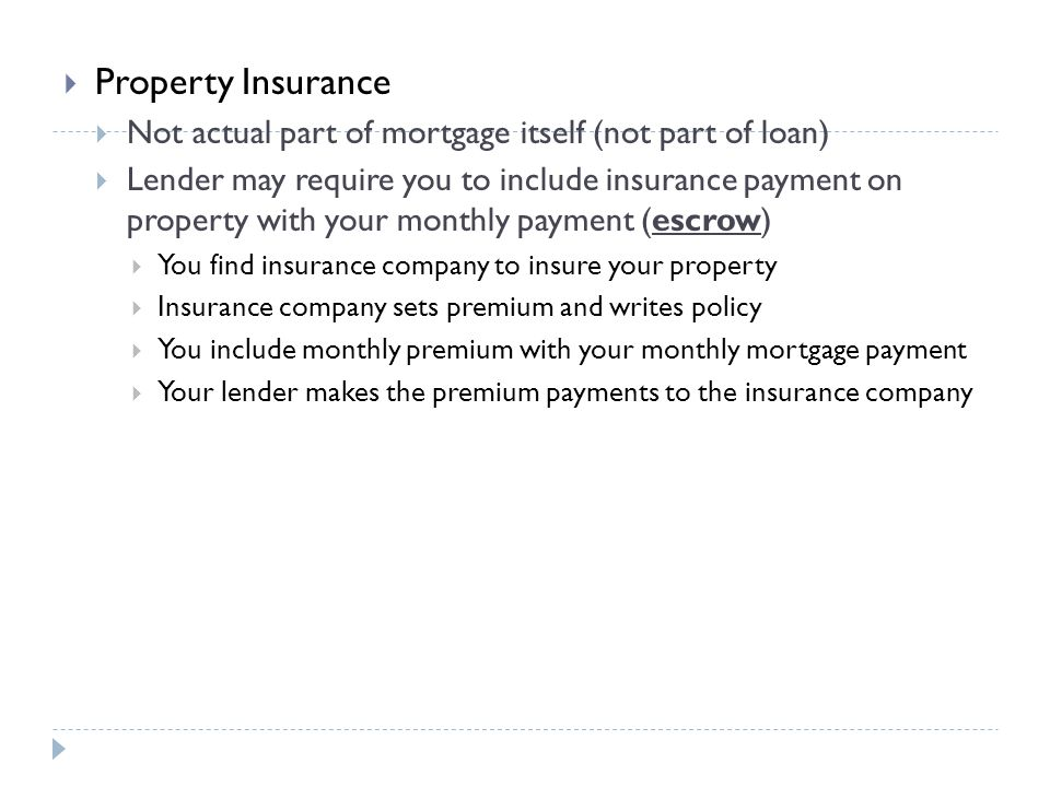 Property Insurance Not actual part of mortgage itself (not part of loan)