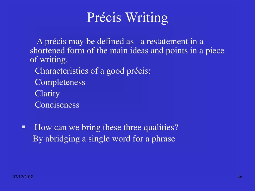 characteristics of a good precis