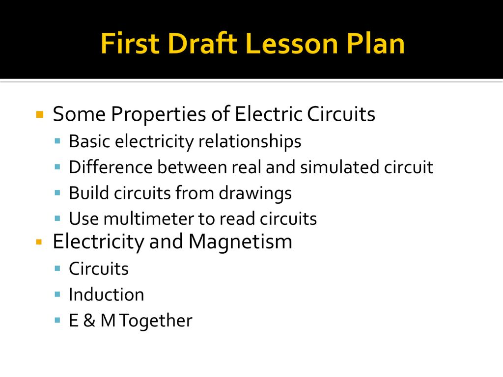 Dr Sytil Murphy Dean Zollman Ppt Download How To Read Electronics Schematics 7 First Draft Lesson Plan Some Properties Of Electric Circuits