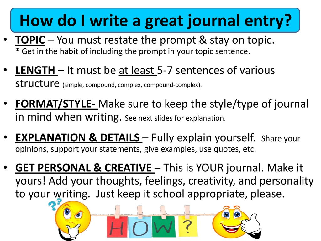 how to write a journal entry for a book