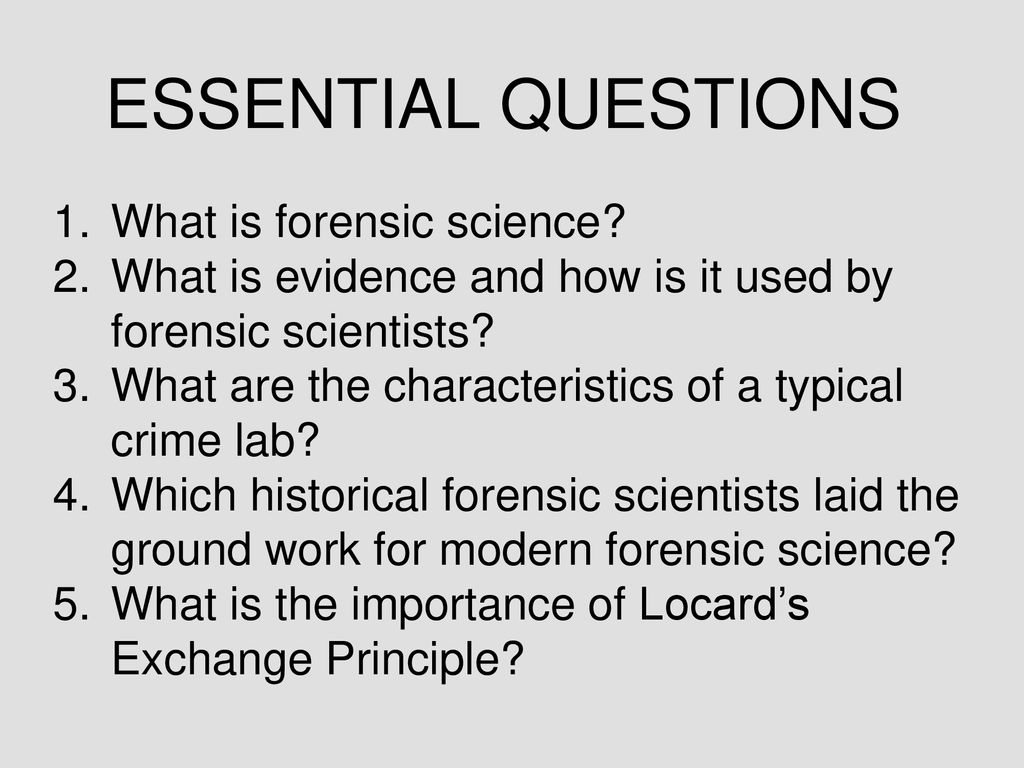 forensic science sfs1. students will recognize and classify various
