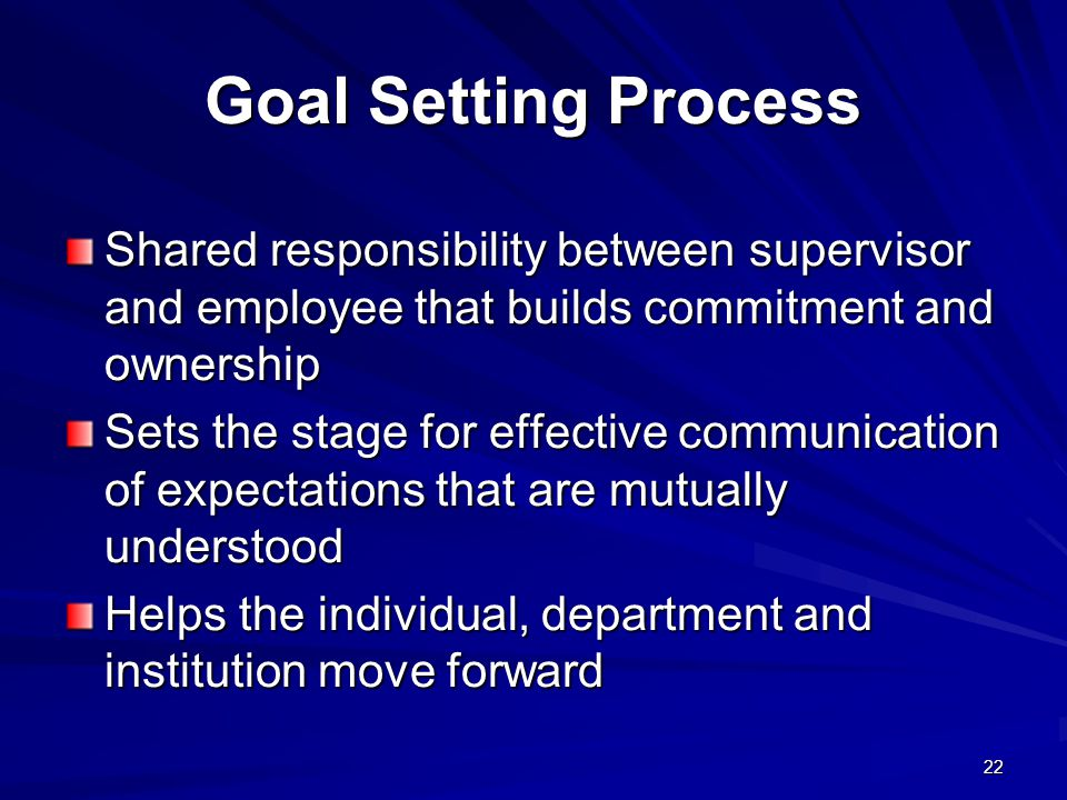 Goal Setting Process Shared responsibility between supervisor and employee that builds commitment and ownership.