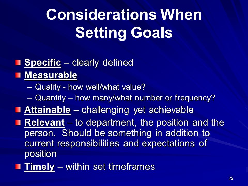 Considerations When Setting Goals