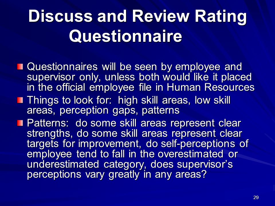 Discuss and Review Rating Questionnaire
