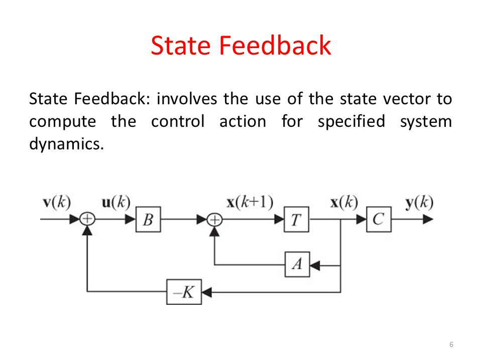 State Feedback State Feedback: involves the use of the state vector to compute the control action for specified system dynamics.
