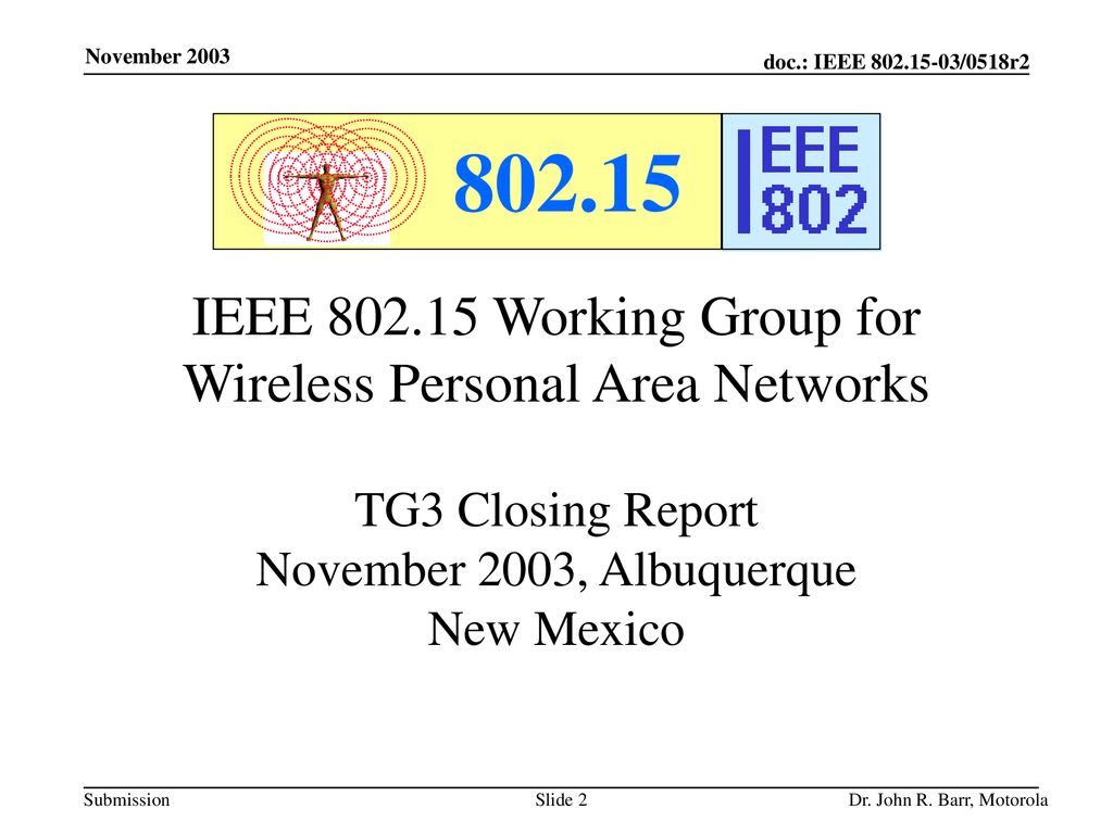 IEEE Working Group for Wireless Personal Area Networks