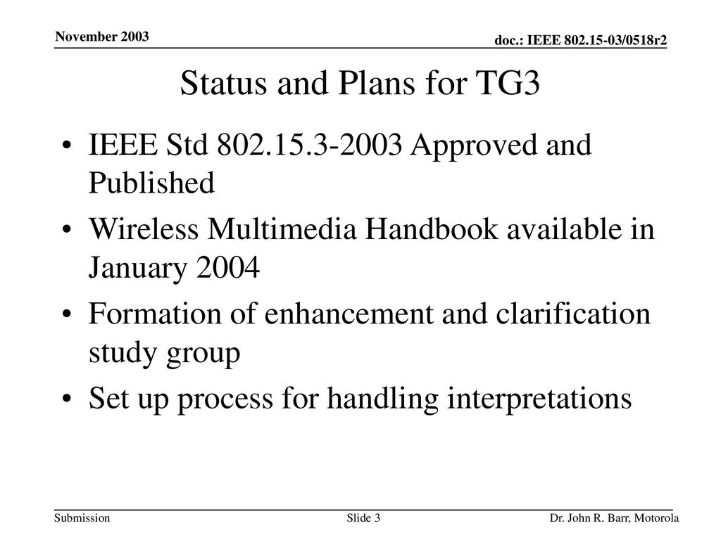 Status and Plans for TG3 IEEE Std Approved and Published