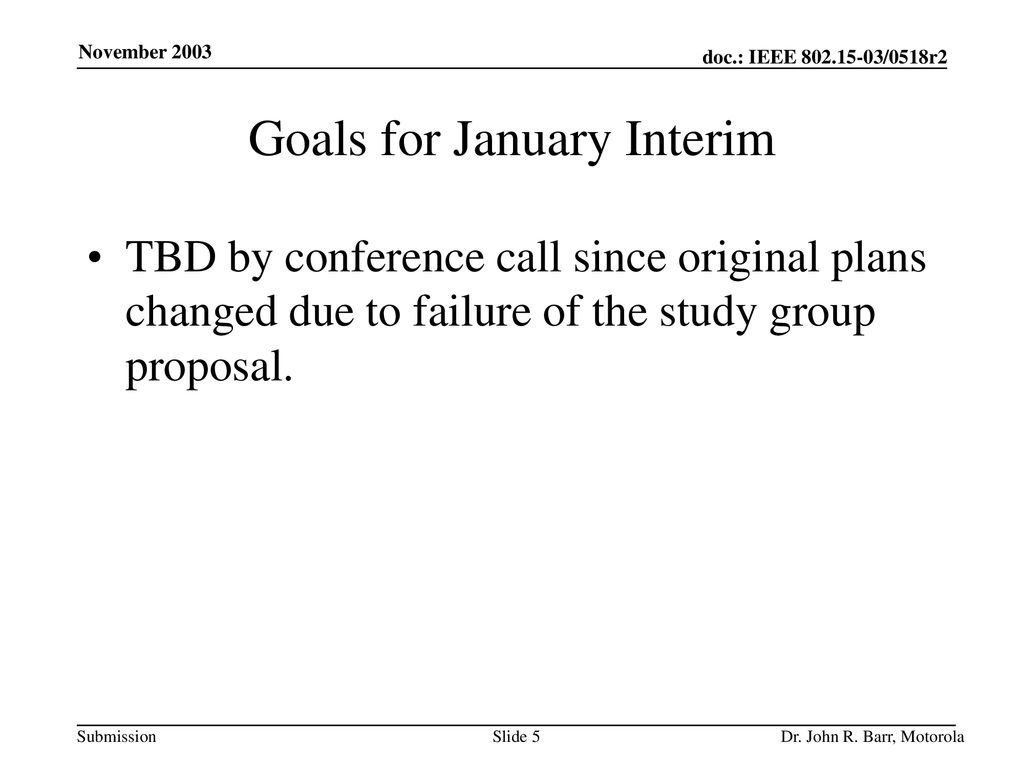 Goals for January Interim