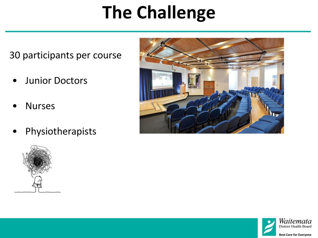 The Challenge :: 30 participants per course Junior Doctors Nurses