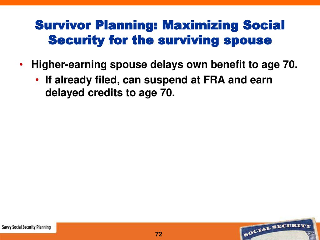 Savvy Social Security Planning for Couples - ppt download