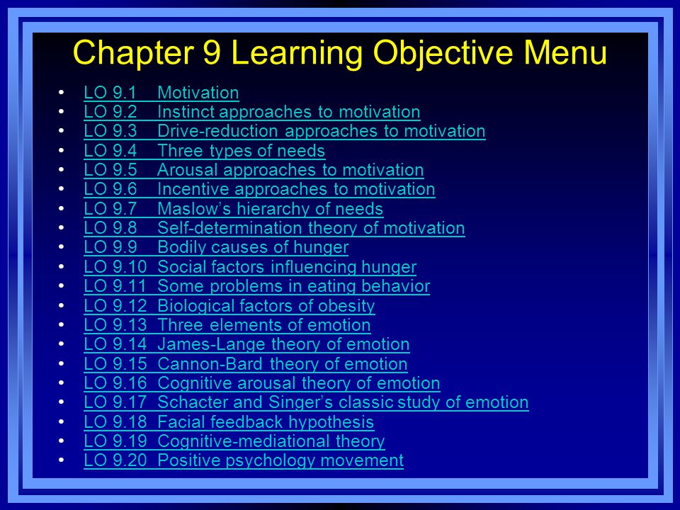 Chapter 9 Learning Objective Menu