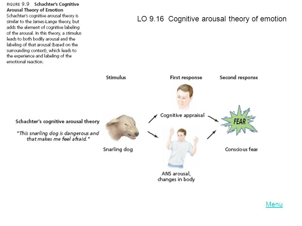 LO 9.16 Cognitive arousal theory of emotion
